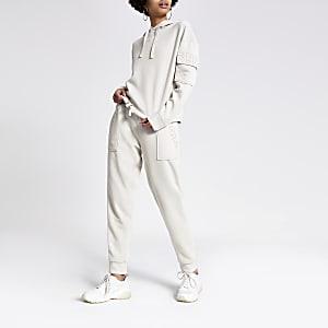 Pantalon de jogging crème à strass