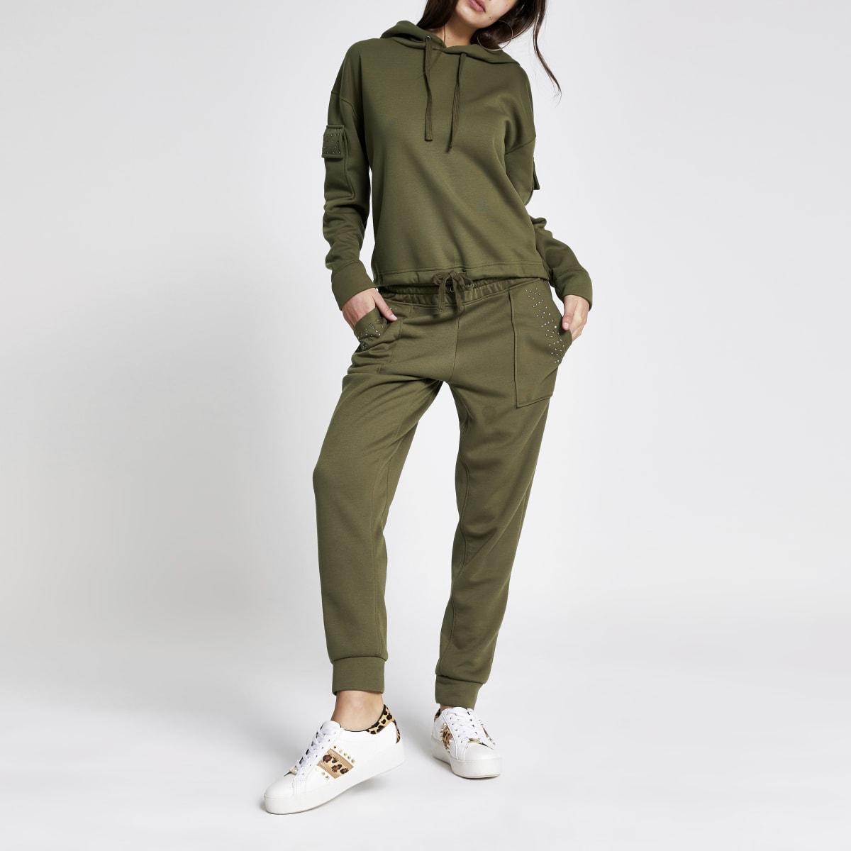 Pantalon de jogging kaki à strass