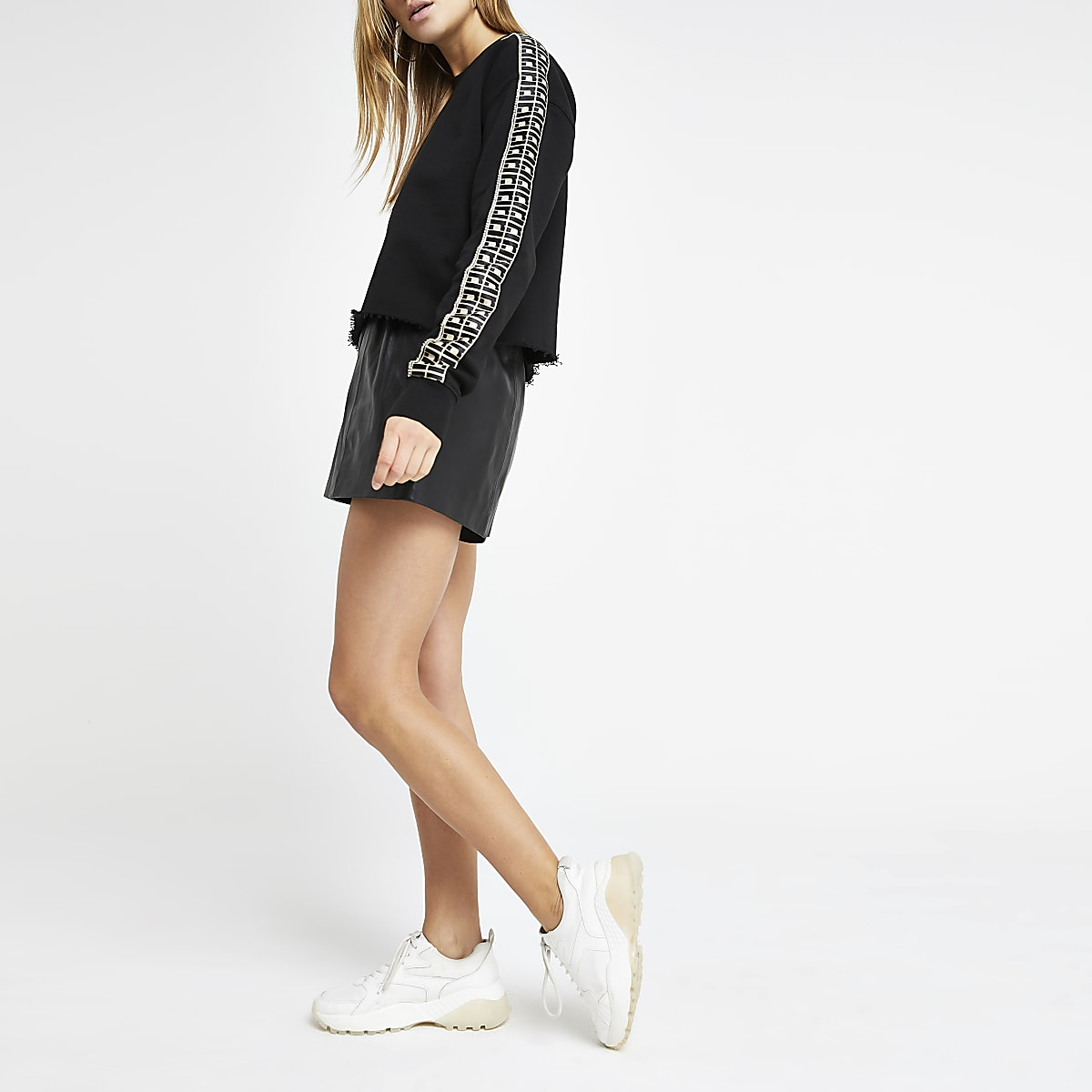 Black RI diamante trim crop sweatshirt