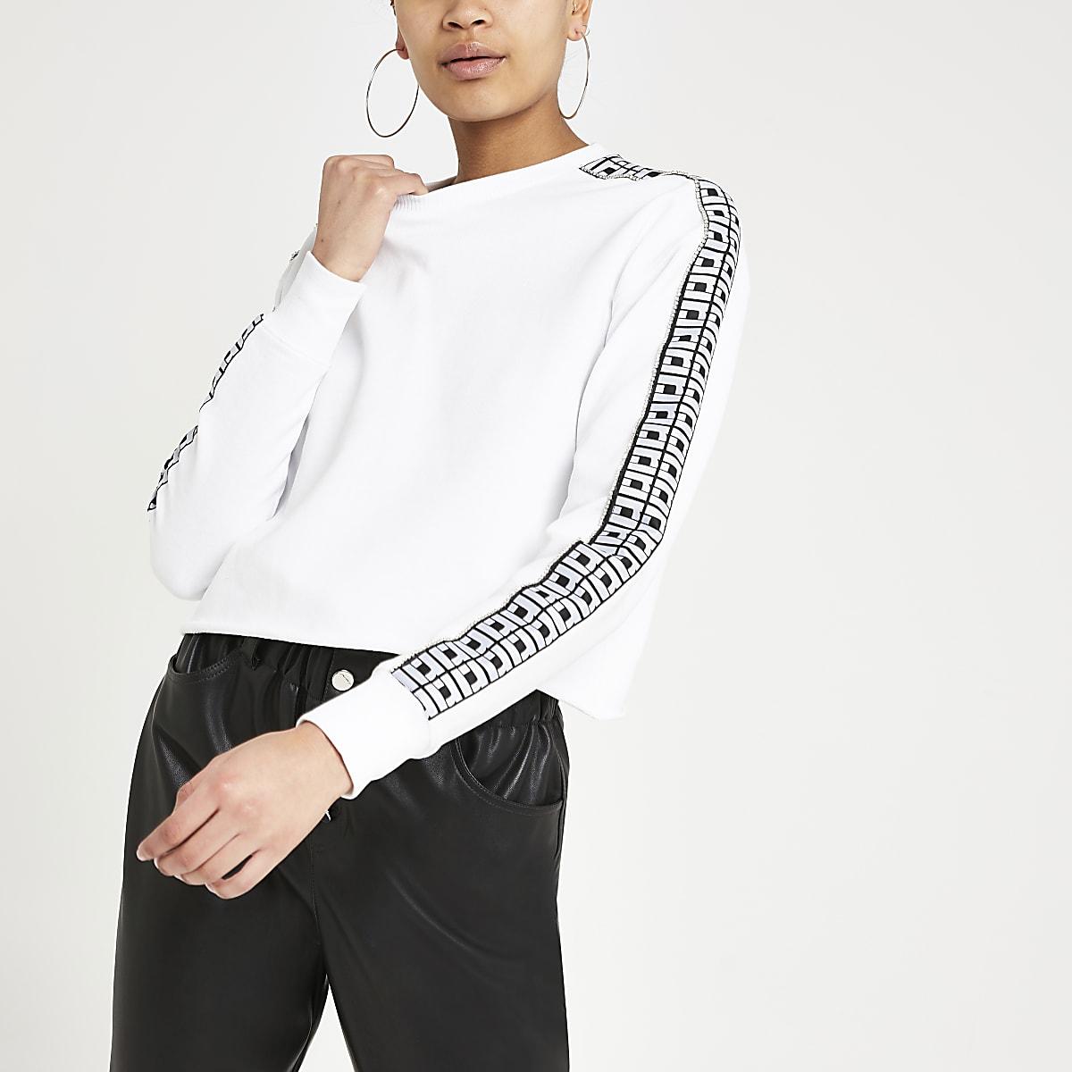White RI rhinestone trim crop sweatshirt