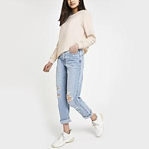 Pink button sweatshirt