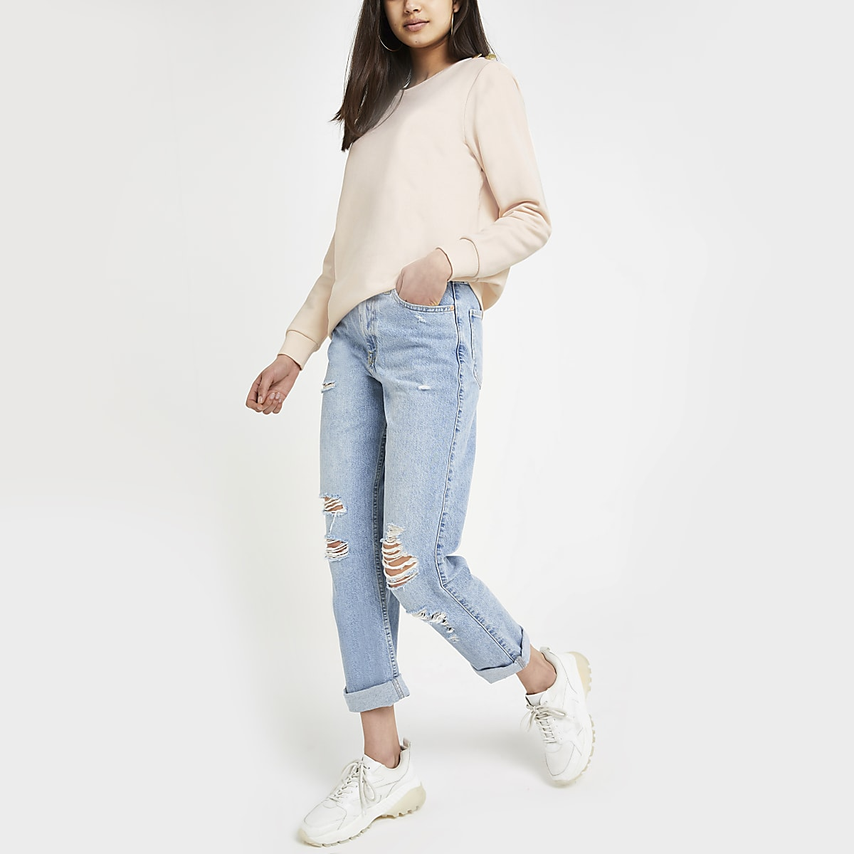 Pink button sweatshirt