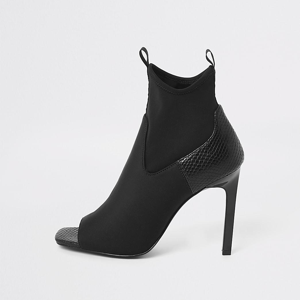Black scuba heeled shoe boots