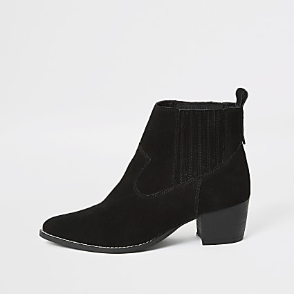 Black suede western ankle heeled boots