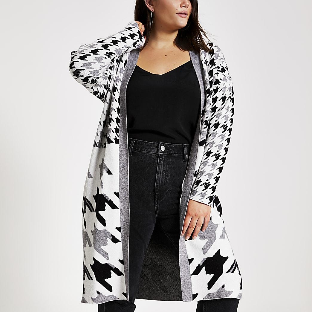 Plus printed grey longline knitted cardigan