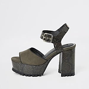 Khaki croc embossed platform cleated sandals
