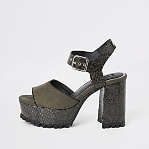 Kaki croc sandalen met reliëf en plateauzolen met profiel