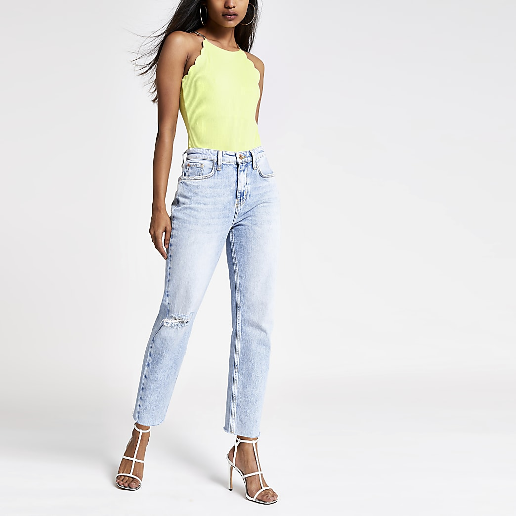 Petite lime scallop trim bodysuit