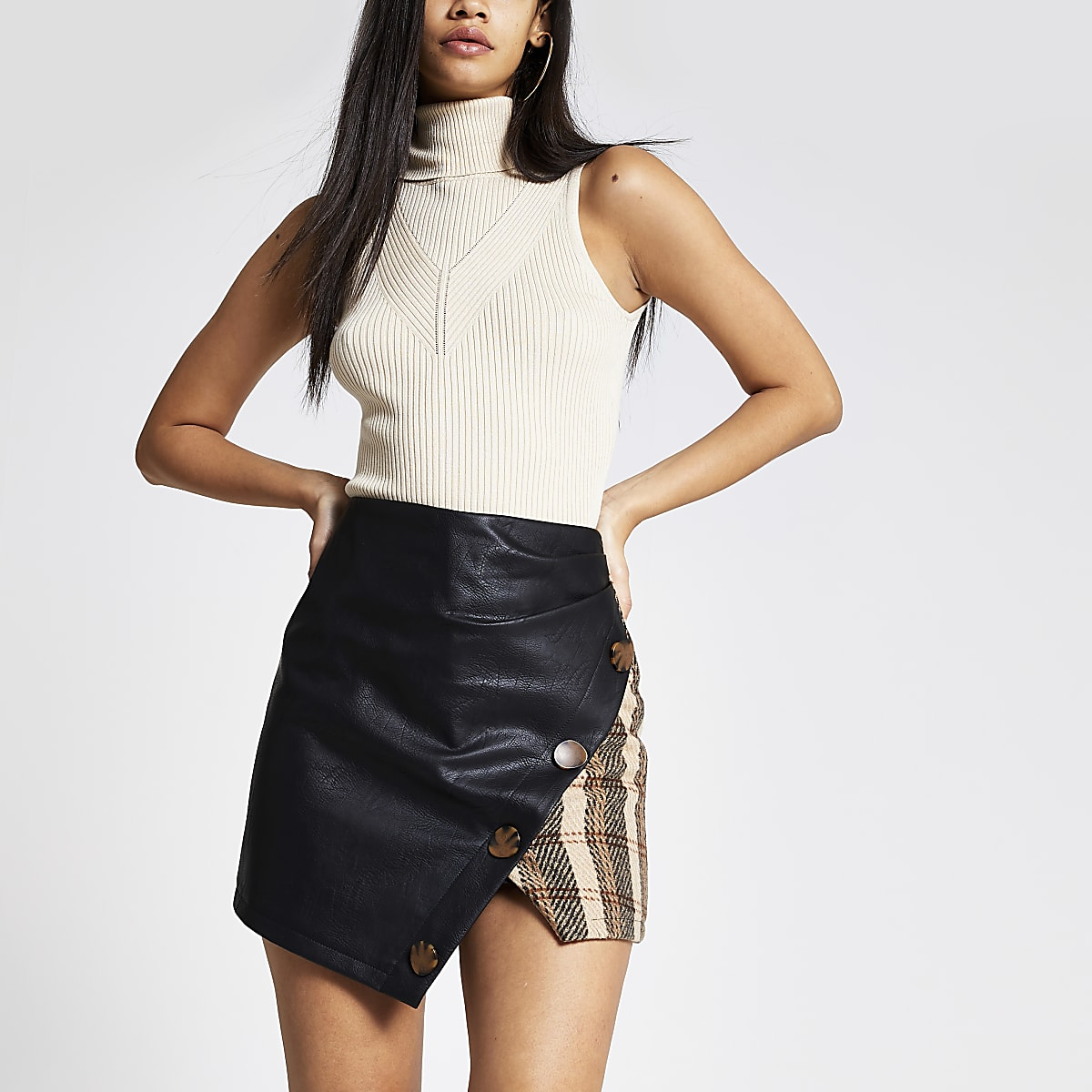 Brown check wrap mini skirt