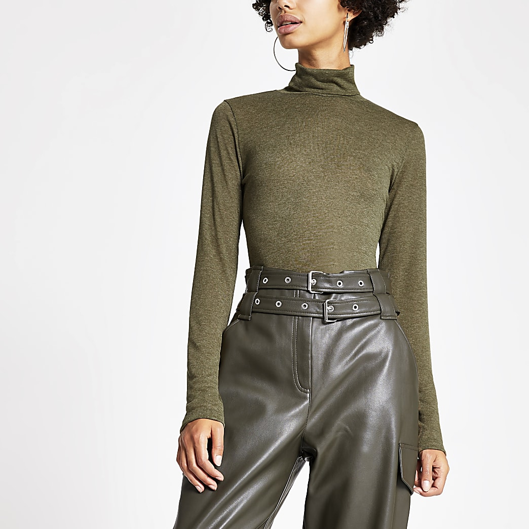 Khaki marl roll neck fitted top
