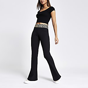 Black tipped rib flared trousers