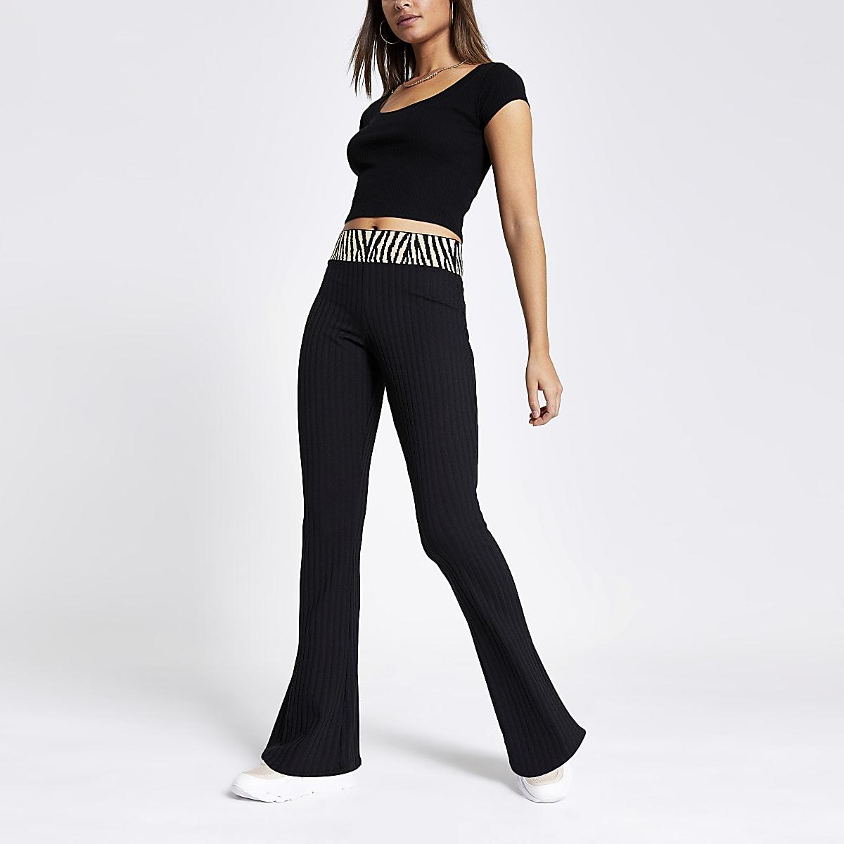 Black tipped rib flared trousers