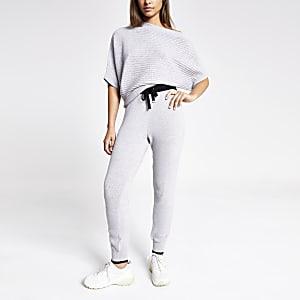 Pantalon de jogging en maille gris clair