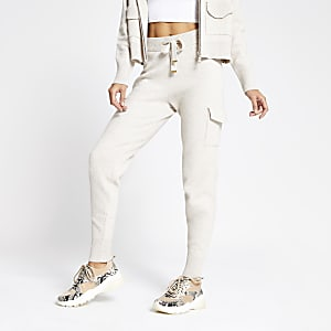 Cream knitted utility joggers