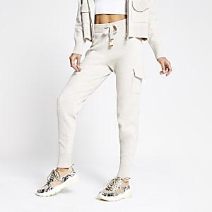 Pantalon de jogging utilitaire en maille crème