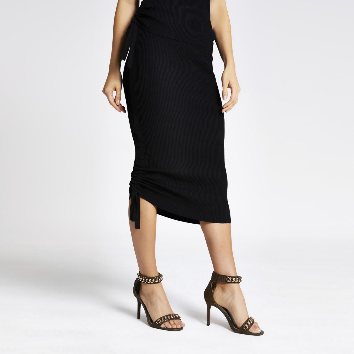 Black ribbed ruched side midi skirt