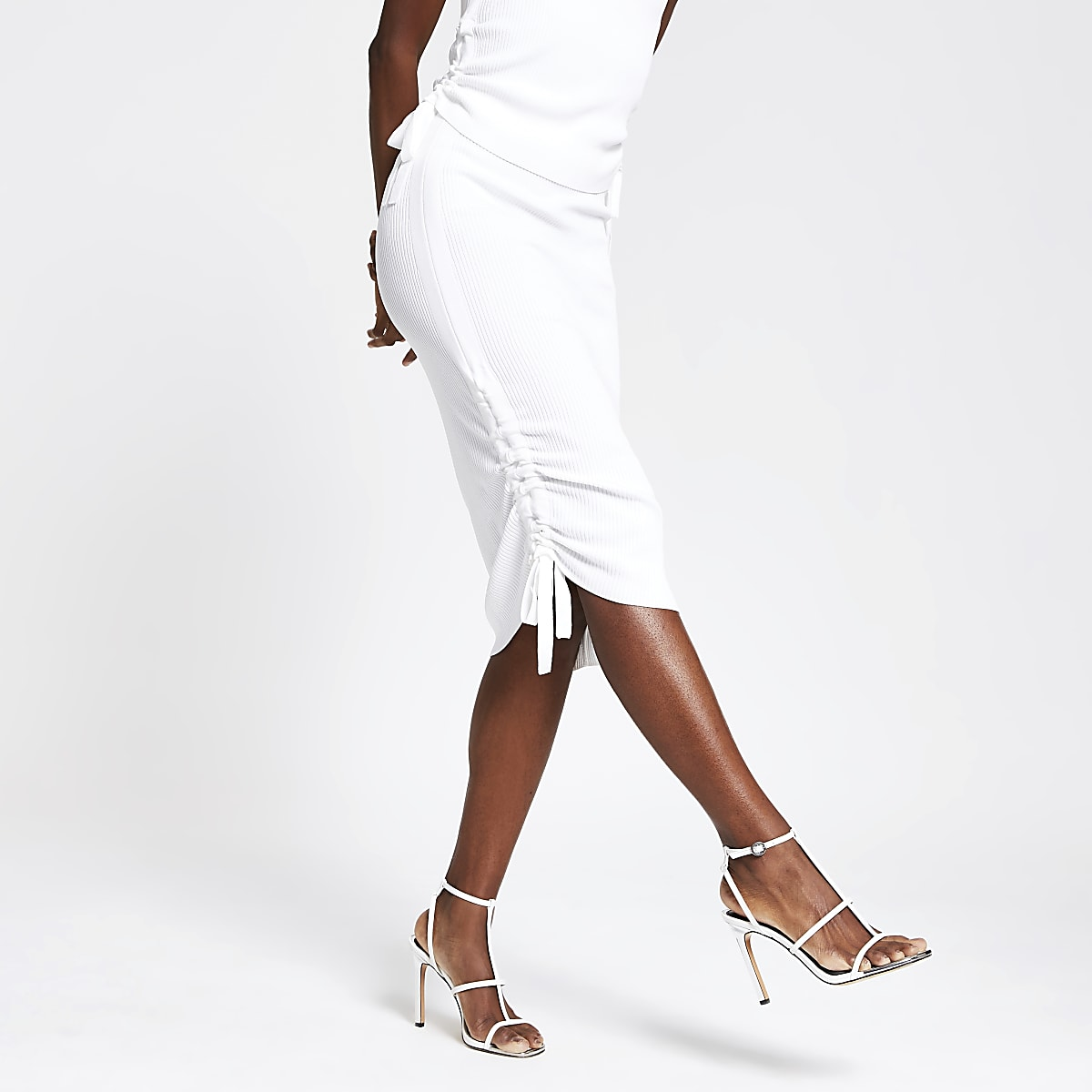 White ribbed ruched side midi skirt