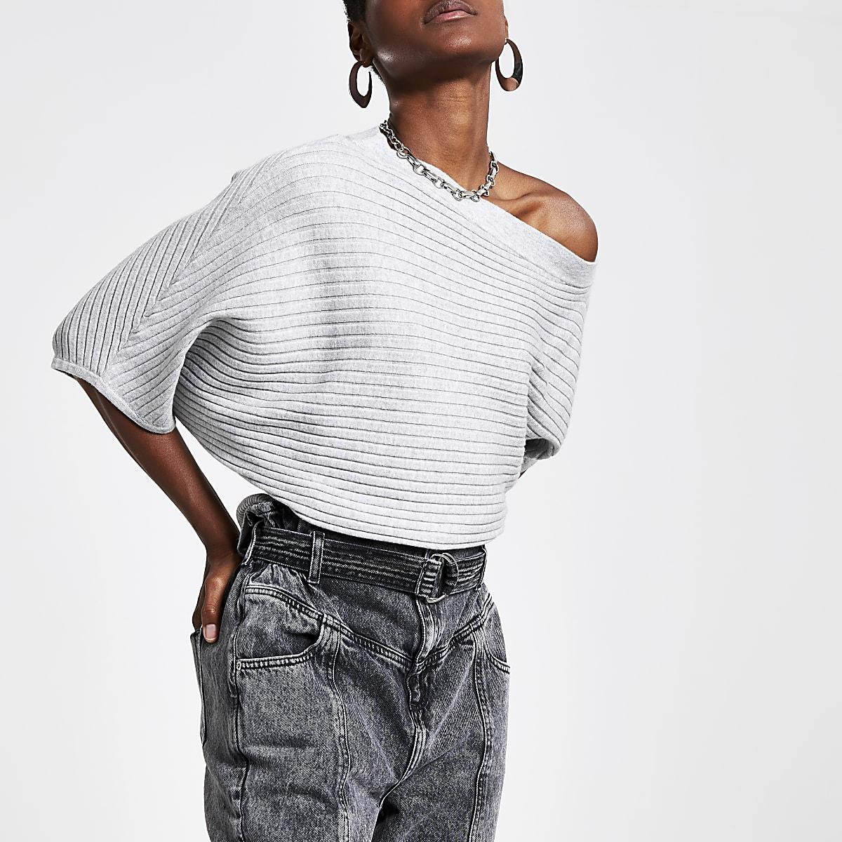 Light grey bardot knitted T-shirt