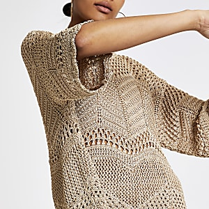 Gold crochet T-shirt