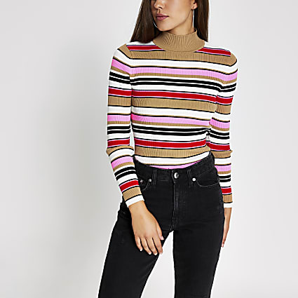Pink stripe high neck long sleeve knitted top