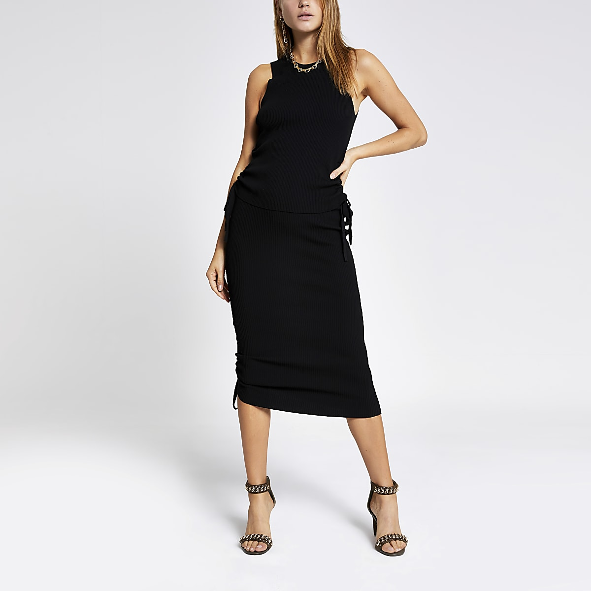 Black ribbed ruched side top
