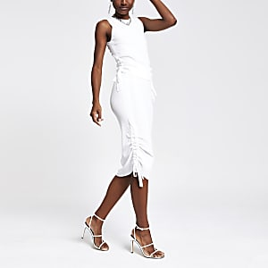 White ribbed ruched side top