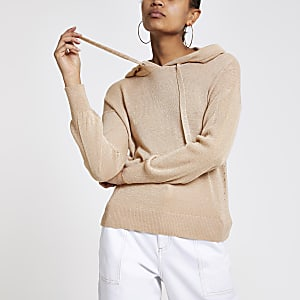 Pink metallic knitted hoodie