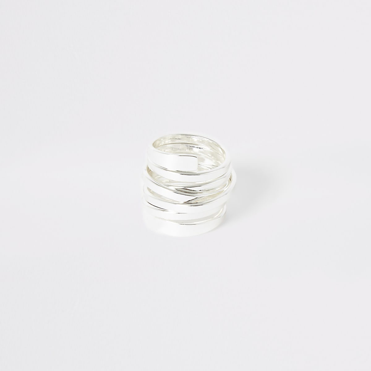 Silver color swirl ring multipack