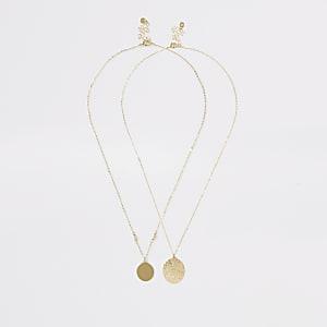 Goldene Halskette mit Anhänger, Set