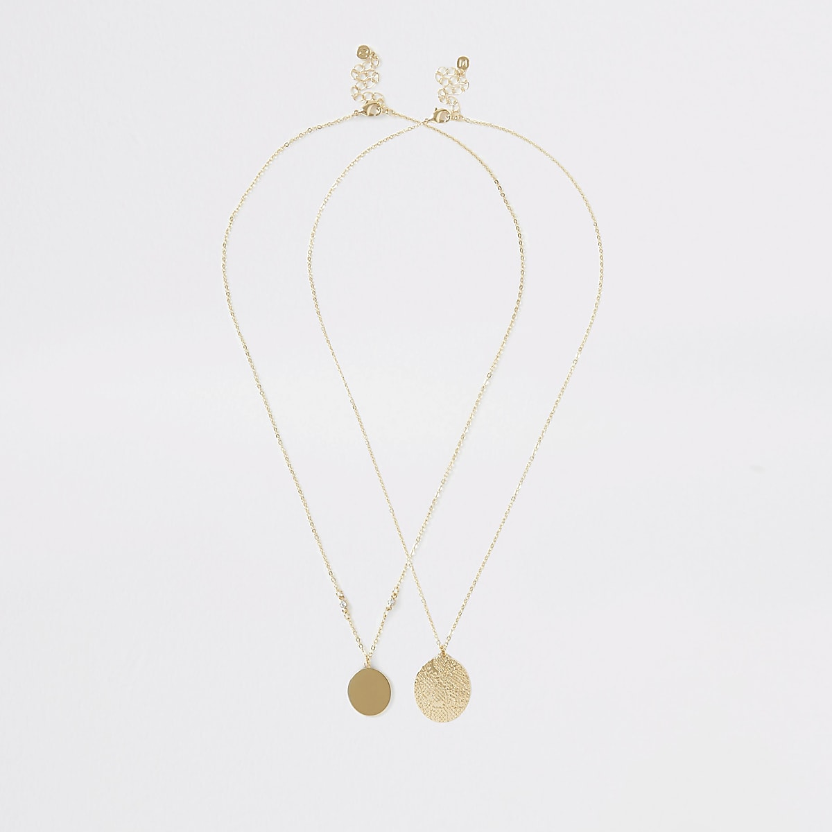 Gold colour pendant necklace multipack
