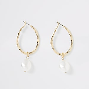Gold color pearl twist hoop earrings