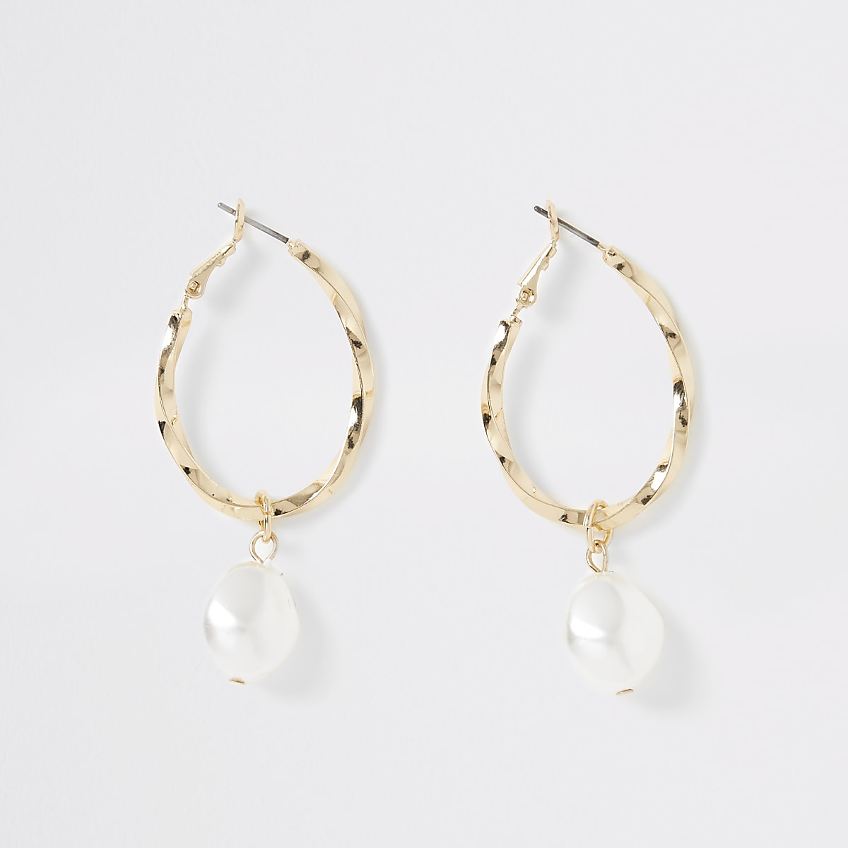 Gold colour pearl twist hoop earrings
