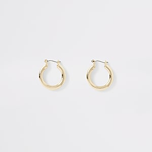 Gold color small chunky hoop earrings