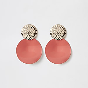 Neon orange textured drop earrings