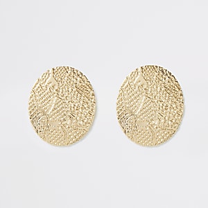 Gold color snake print oval stud earrings