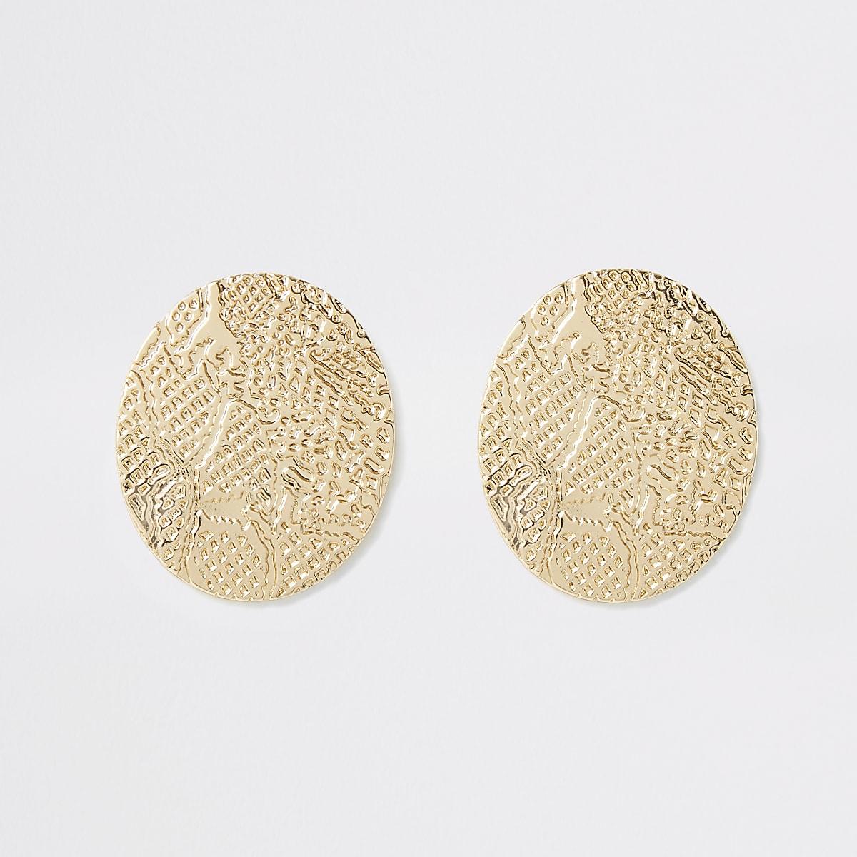 Gold colour snake print oval stud earrings