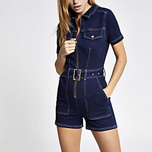 Combi-short en denim bleu foncé à ceinture