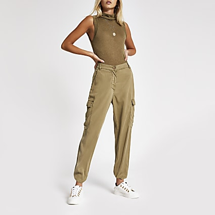 Khaki sleeveless roll neck fitted top