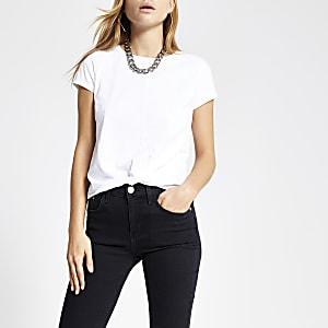 Wit T-shirt met gedraaide voorzijde