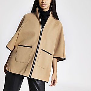 Beige knitted cape jacket