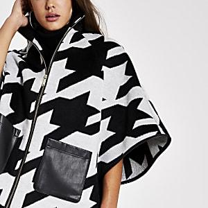 Schwarze Cape-Jacke mit Hahnentritt-Muster
