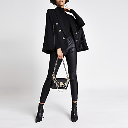 Black gold crest button cape blazer