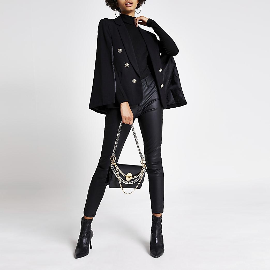 Zwartgouden cape blazer met verfraaide knopen