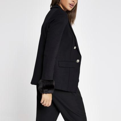 Black faux fur cuff blazer
