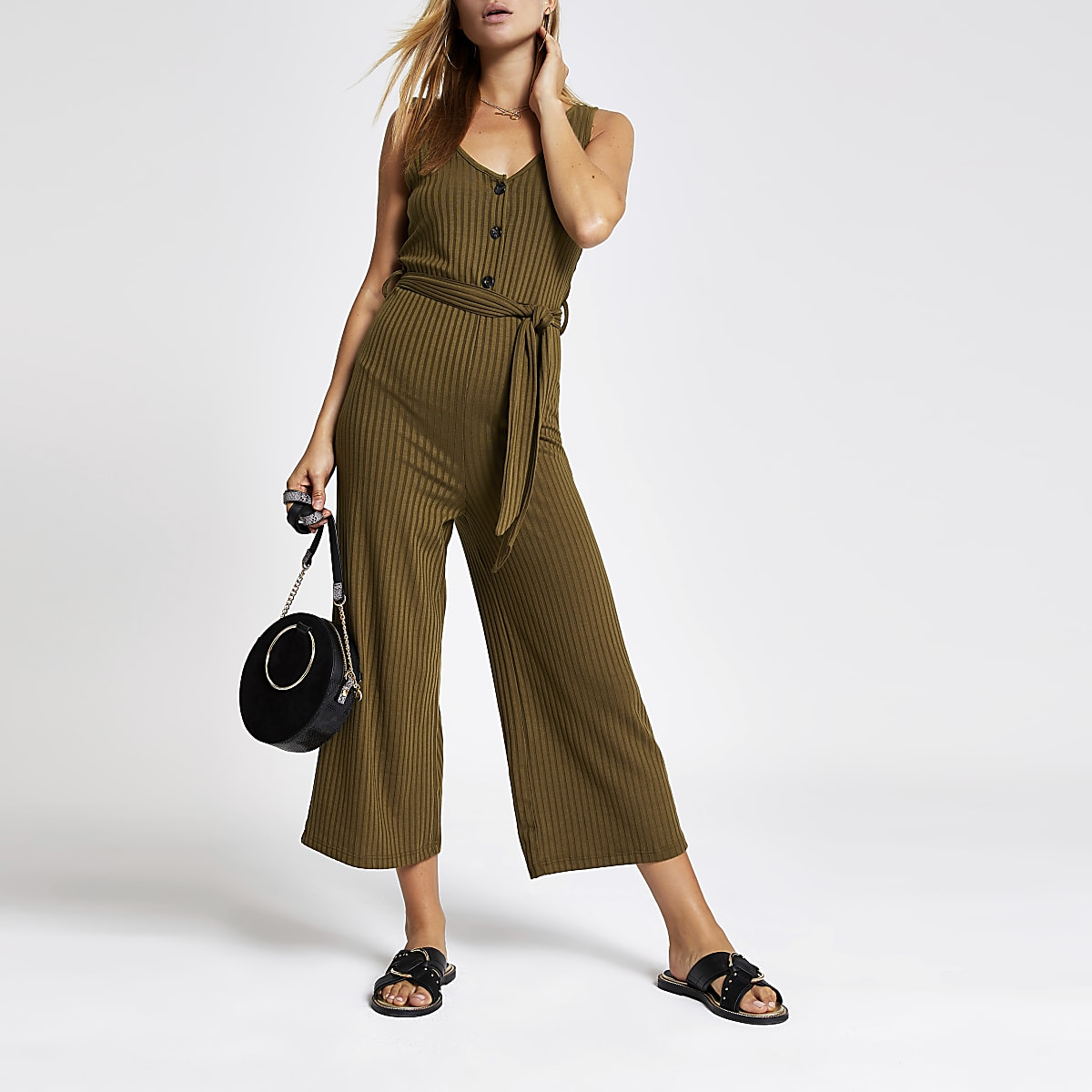 Khaki ribbed V neck tie waist jumpsuit