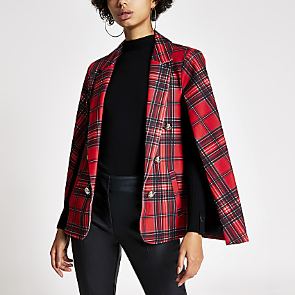 Red tartan crested button cape blazer