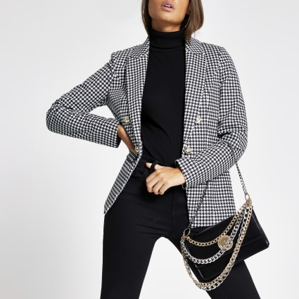 Black houndstooth check blazer