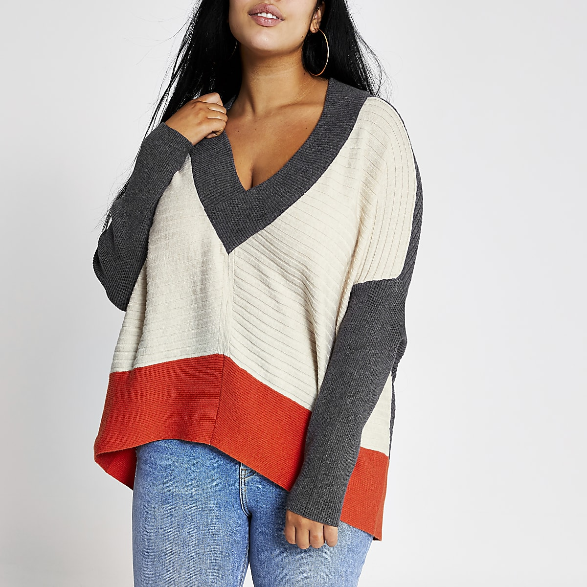 Plus beige colour block batwing sleeve jumper