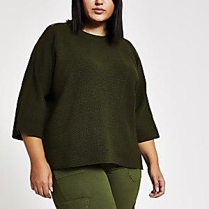 Plus – T-shirt en maille côtelée kaki