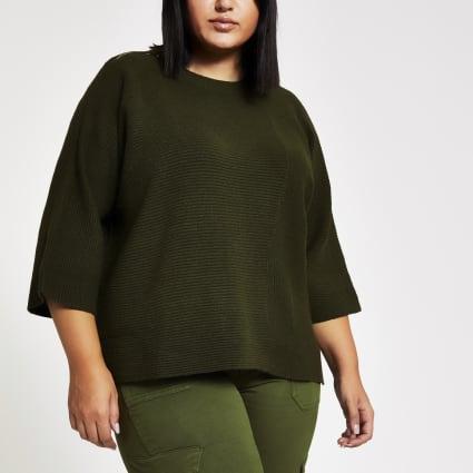 Plus khaki knitted rib T-shirt